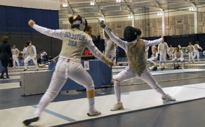 Irish sophomore Lee Kiefer takes on Northwestern sophomore Mikela Goldstein during the Notre Dame Duals on Feb. 23, 2013. This past weekend, Kiefer, Notre Dame's reigning National Champion, went undefeated in pool play before she tied for third in the Women's Foil during the NAC Division I Juniors Tournament.