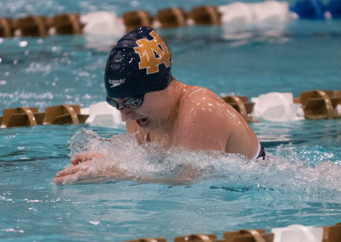 Freshman Danielle Margheret swims breaststroke in the 400-yard medley relay at the Dennis Stark Relays on Oct. 11, 2013. Margheret took sixth place in the 200-yard breaststroke Saturday against Louisville.