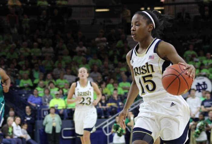 Irish freshman guard Lindsay Allen dribbles the ball during Notre Dame's 99-50 home win over UNC Wilmington on Jan. 26.