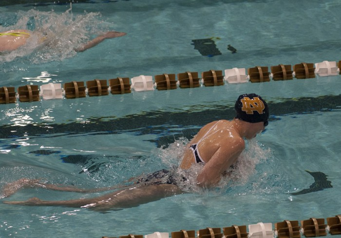 Irish senior Mikelle Masciantonio swims against Valparaiso on Nov. 15.