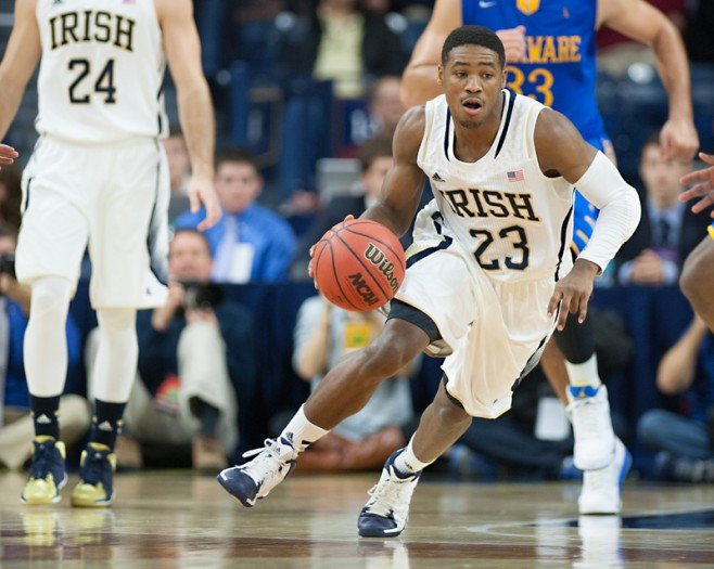 Irish freshman guard Demetrius Jackson dribbles the ball during Notre Dame's 80-75 victory over Delaware in the Purcell Pavilion on Dec. 7. Jackson had six points and three assists during Wednesday's loss to Maryland.
