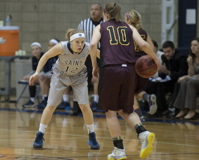 Saint Mary's sophomore guard Maddie Kohler defends during the Belles' 95-68 loss to Calvin on Jan. 15.