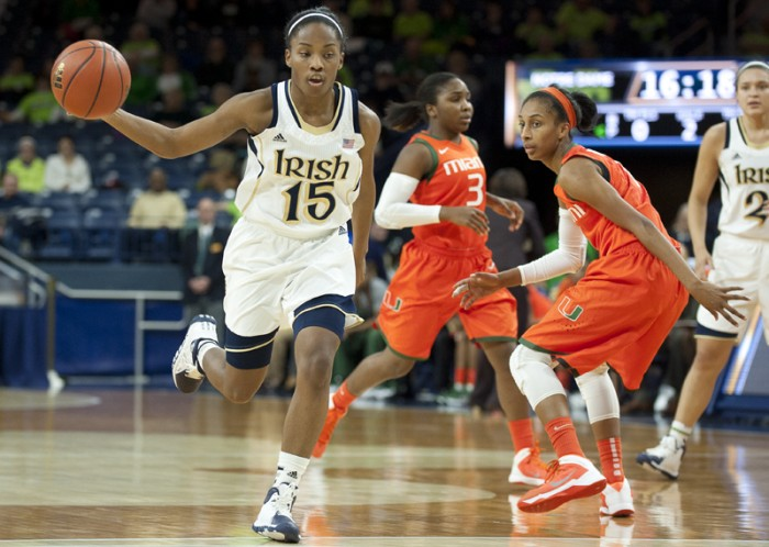 Irish freshman guard Lindsay Allen dribbles against Miami on Jan. 30.