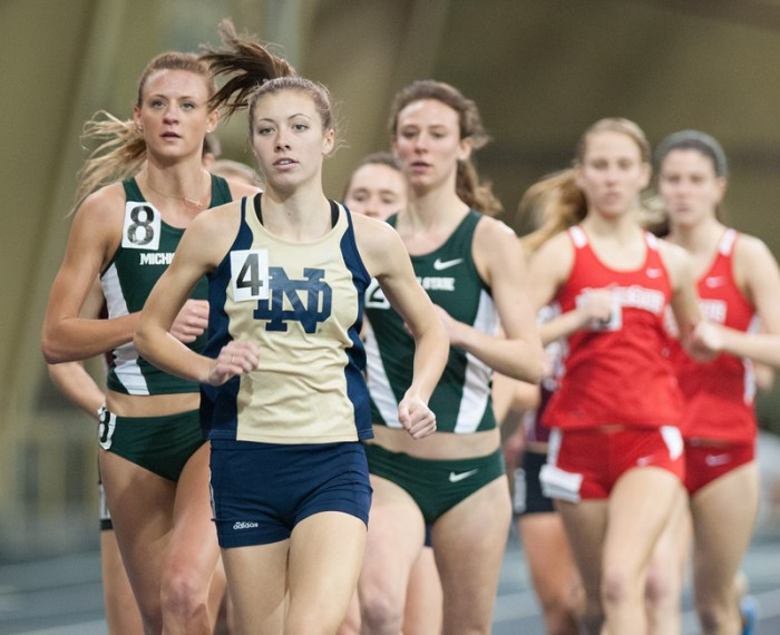 Irish senior Kelly Curran competes during the Notre Dame Invitational in the Loftus Center on Saturday.