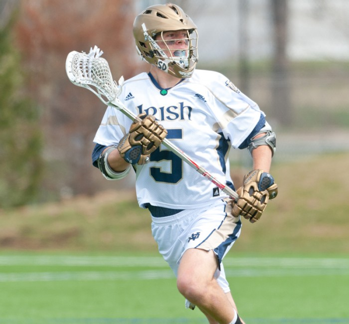Irish senior midfield Jim Marlatt scans the field during Notre Dame's 10-8 win over Georgetown on April 16, 2013 at Arlotta Stadium. Marlatt recovered from a redshirt freshman season to become an All-American.