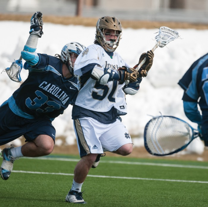 Sophomore attackman Matt Kavanagh looks to shoot against North Carolina March 2, 2013. He is Notre Dame's top returning scorer.