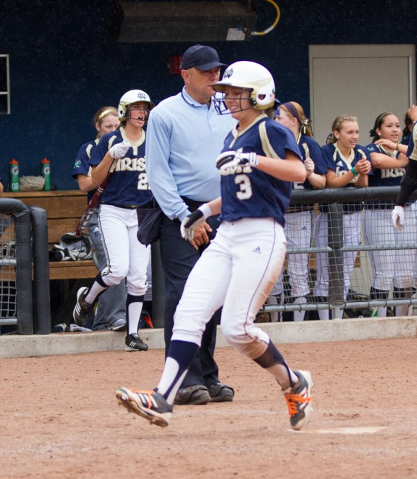 Junior outfielder Emilee Koerner, shown during last season, and the Irish swept the weekend to improve to 6-1 overall.