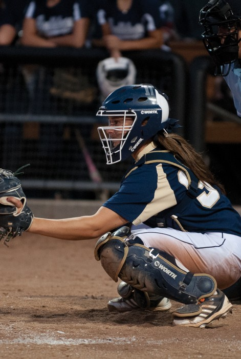 Irish sophomore catcher Casey Africano waits for the pitch during Notre Dame's during a scrimmage on Oct. 9, 2013.