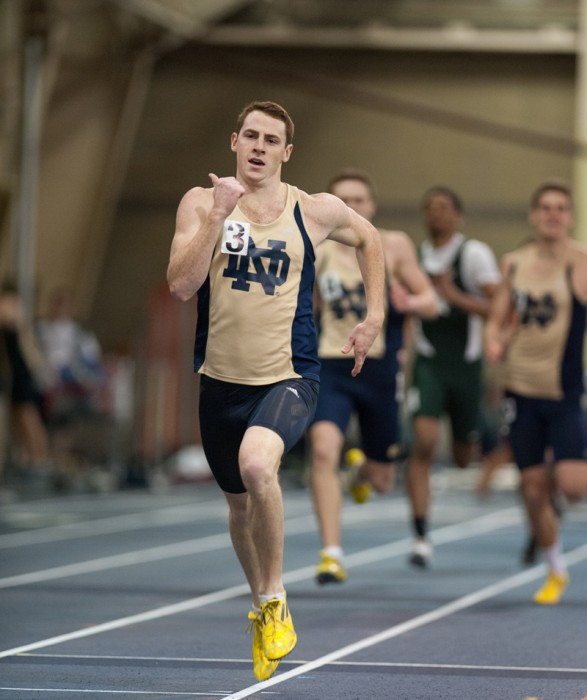 Senior Patrick Feeney races in the 400-meter dash at the Notre Dame Invitational on Jan. 25. Feeney competed in two third-place relays Saturday at the Alex Wilson Invitational.