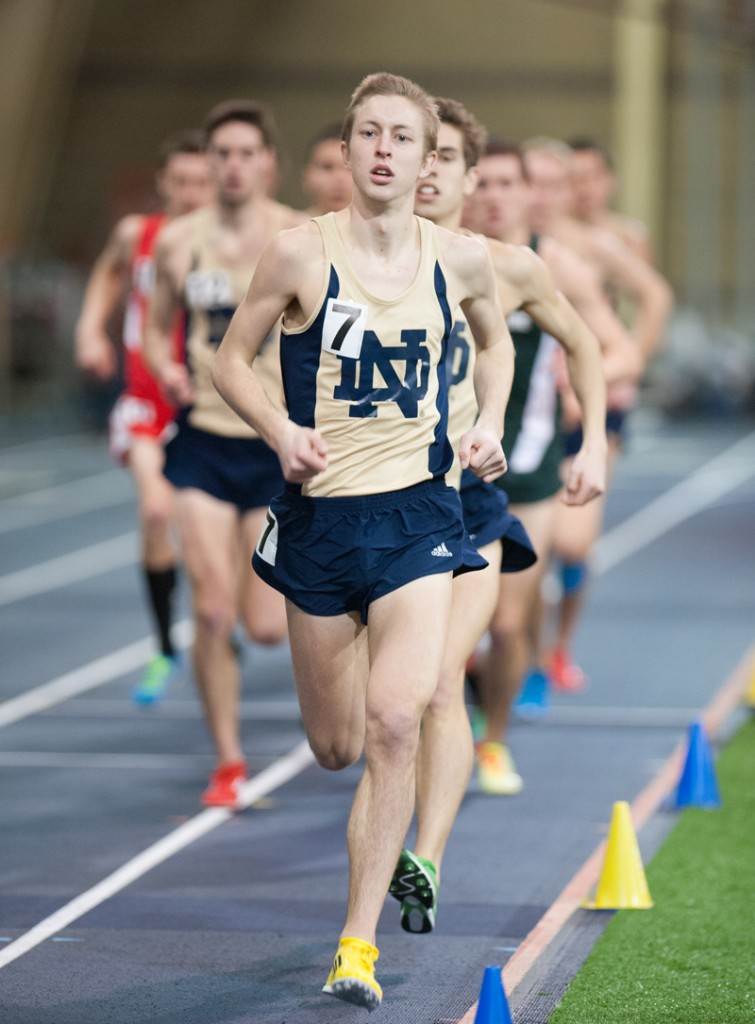 Graduate student Nick Happe runs in the Notre Dame Invitational on January 25, 2014 at Loftus Sports Center. Happe finished fourth in the 3,000-meter run at the Husky Classic on Saturday in Seattle, Wa.