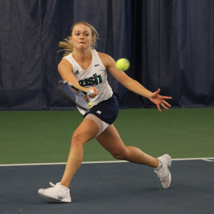 Irish freshman Mary Closs returns a volley during Notre Dame's 4-3 victory over Indiana on Feb. 2 at the Eck Tennis Pavilion.