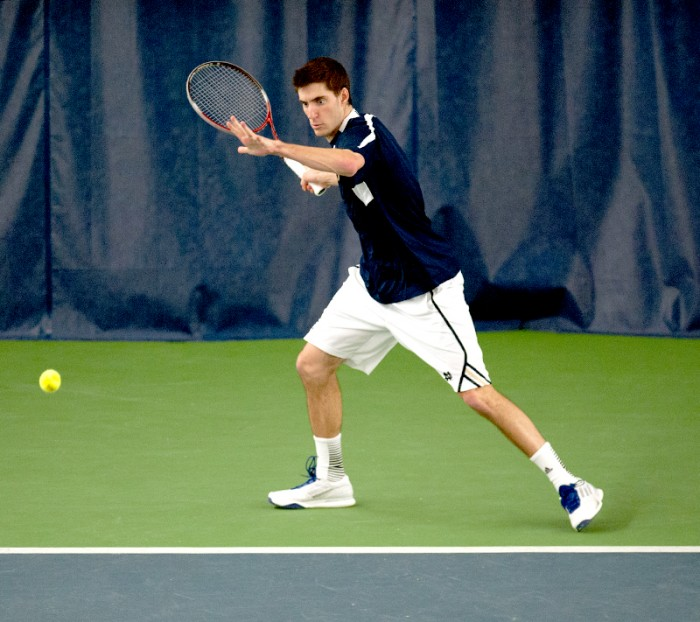 Irish senior Ryan Bandy prepares to strike a forehand shot in Notre Dame's 4-3 win over Kentucky on Feb. 2.
