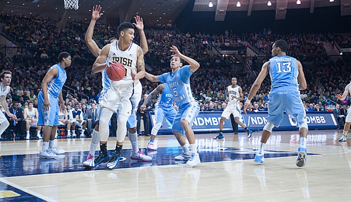 Sophomore forward Zach Auguste is double-teamed against North Carolina on Saturday. Auguste scored 10 points in the game.