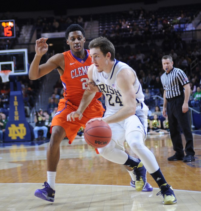 Irish junior forward Pat Connaughton drives to the basket during Notre Dame's 68-64 win against Clemson on Feb. 11.