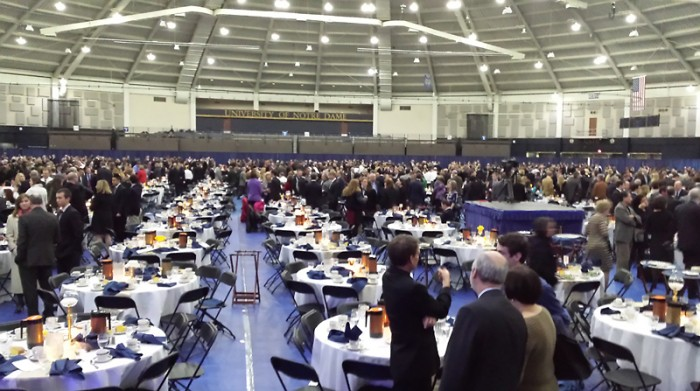 Juniors and their parents mingle at the Junior Parents Weekend  dinner Saturday in the Joyce Center. More than 4,000 people attended the weekend's events, which also included a gala and dorm brunches.