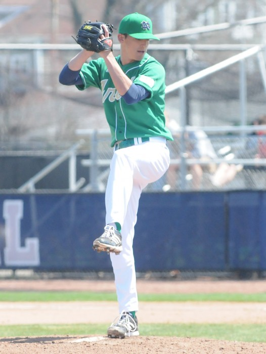 Irish senior pitcher Sean Fitzgerald winds up in a game against Quinnipiac on April 21. Fitzgerald earned a win Saturday against Incarnate Word.