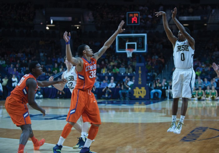 Irish senior guard Eric Atkins shoots a 3-pointer during Notre Dame's 68-64 win over Clemson in double overtime Feb. 11. Notre Dame returns to Purcell Pavilion tonight at 7 p.m. against Georgia Tech.