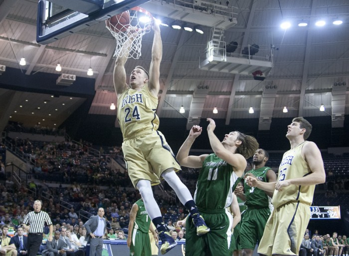 Irish junior forward Pat Connaughton dunks during Notre Dame's 80-49 exhibition win over Stetson on Nov. 10.