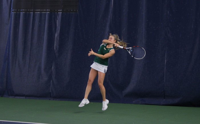 Freshman Monica Robinson returns a hit against Georgia Tech on Friday. Robinson picked up a singles win against Yellow Jackets freshman Rasheeda McAdoo in the 4-3 Irish loss.