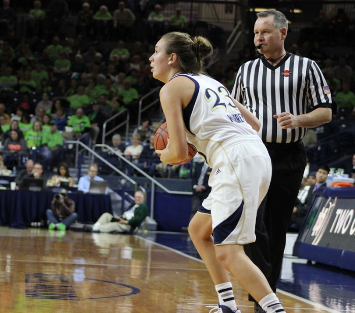 Irish sophomore guard Michaela Mabrey looks to pass during Notre Dame's 99-50 victory over UNC Wilmington on Nov. 9, 2013. Mabrey averages 9.4 points a game, good for fourth on the team.
