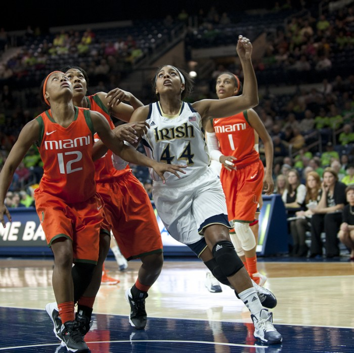 Senior forward Ariel Braker goes for a rebound during Notre Dame's 79-52 win over Miami on Jan. 23 in Purcell Pavilion.