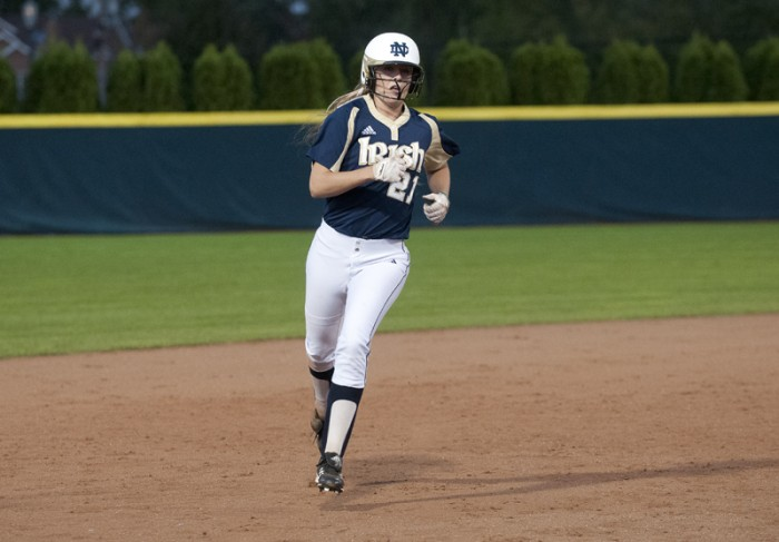 Irish freshman outfielder Karley Wester rounds the bases during fall play.