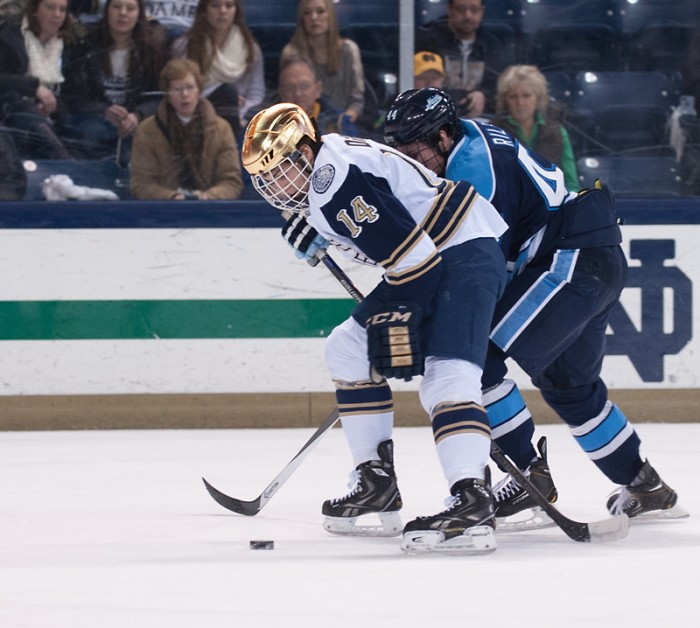 Irish sophomore forward Thomas DiPauli fights for the puck during a game versus Maine on Feb. 7. DiPauli scored a goal in Saturday's 4-3 overtime loss.