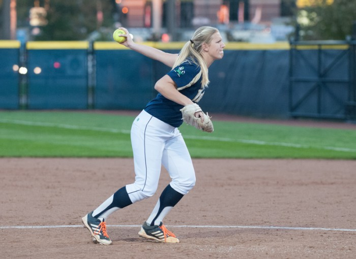 Sophomore pitcher Allie Rhodes faces down a batter on Oct. 9, 2013. Rhodes is second among Irish pitchers with a 2.20 ERA.