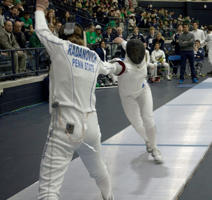 Irish sophomore fencer Lee Kiefer, right, competes during the DiCicco Duals at the Castellan Family Fencing Center on Feb. 8.