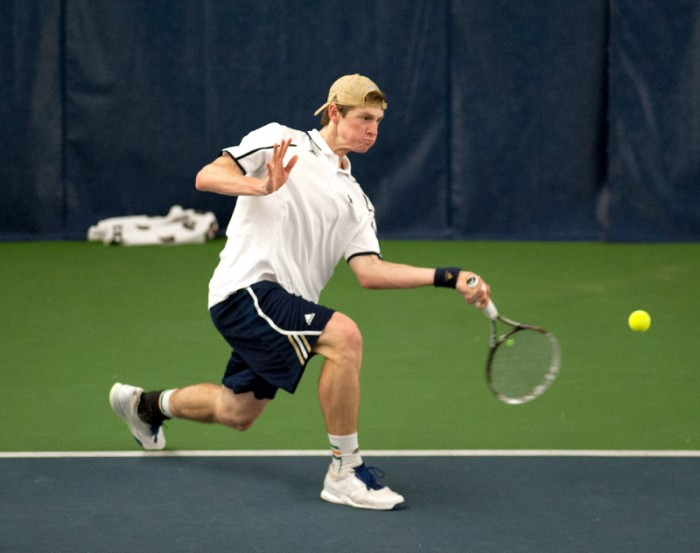 Irish freshman Josh Hagar hits a shot during Notre Dame's 4-3 win over Virginia Tech on Friday in the Eck Tennis Pavilion.