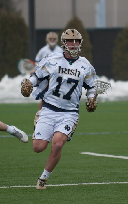 Irish junior midfielder Will Corrigan races down the field during Notre Dame's 8-7 loss to Penn State on Feb. 22.