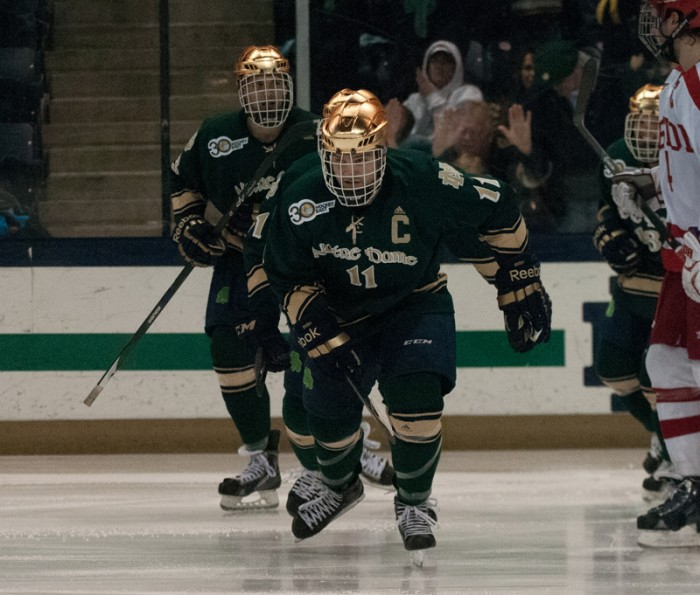 Senior Left Wing Jeff Costello skates down the ice during Notre Dame's 2-0 win over Boston on Feb. 22.