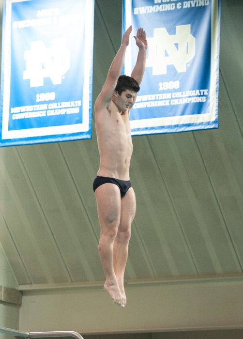 Irish freshman diver Joe Coumos participates in the Shamrock Invitational at Rolfs Aquatic Center on Jan. 31.