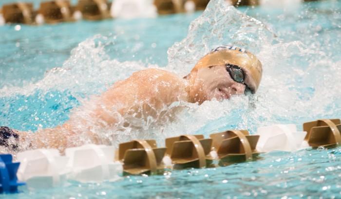 Irish senior Frank Dyer swims in the 200-yard freestyle at the Shamrock Invitational in Rolfs Aquatic Center