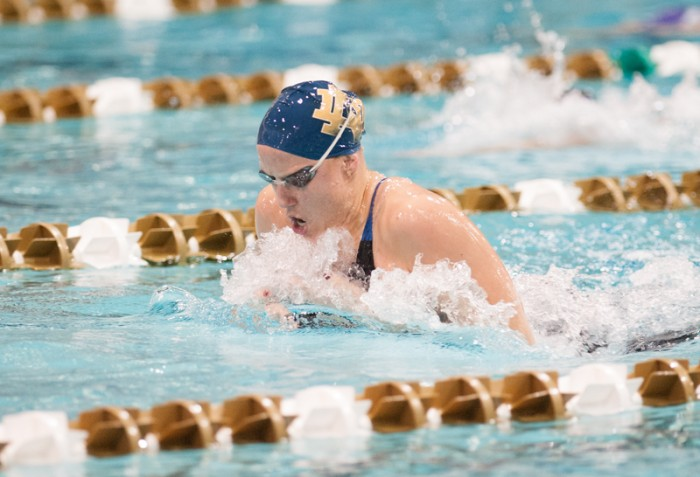 Junior Emma Reaney competes in the breaststroke at the Shamrock Invitational on Jan. 31. Reaney holds the No. 1 seed in the 200-yard breaststroke heading into the NCAA championship meet.