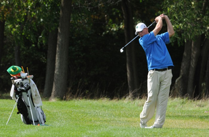 Junior Patrick Grahek tees off at the Fighting Irish Gridiron Golf Classic on Sept. 26, 2011 at the Warren Golf Course.