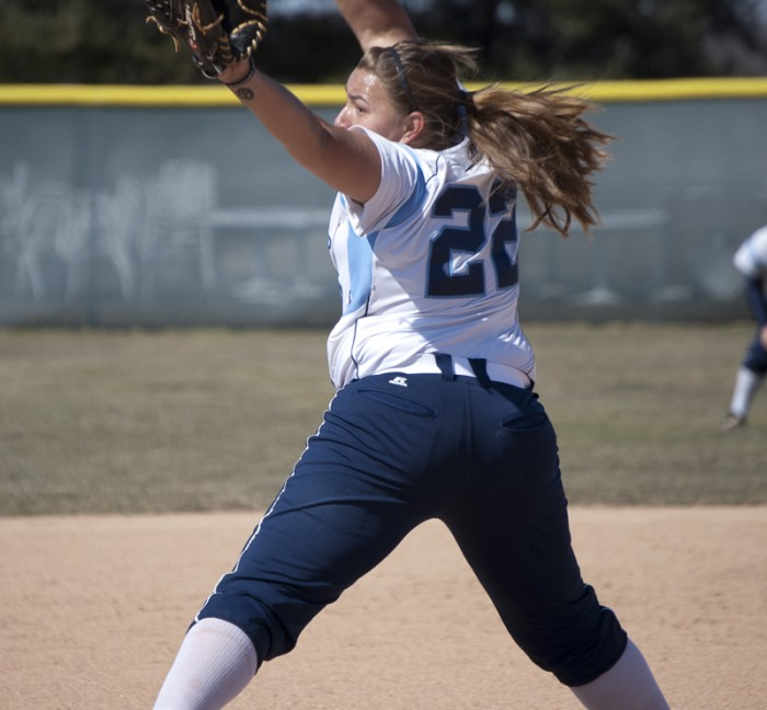 Senior pitcher Callie Selner delivers a pitch against Defiance on March 2. Selner has a 1.98 ERA so far this season.
