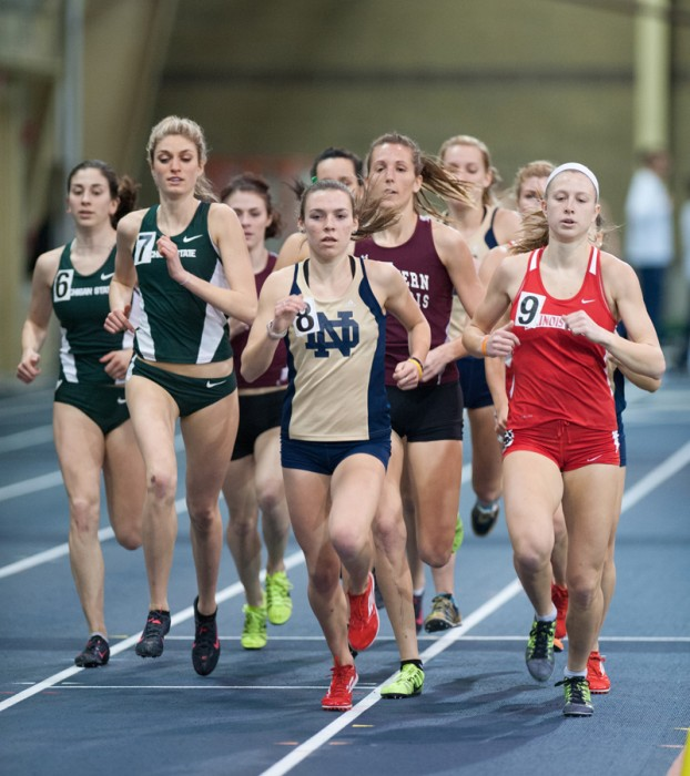 Senior Alexa Aragon runs the mile during the Notre Dame Invitational. Aragon placed third in the distance medley at NCAAs.