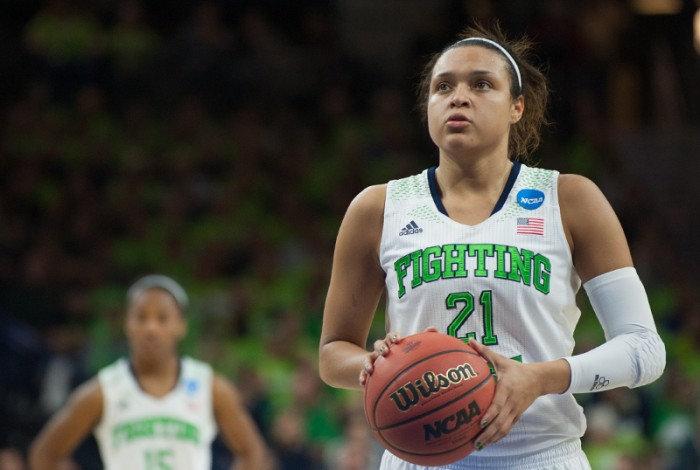 Former Irish guard Kayla McBride prepares to take a free throw against Baylor during Notre Dame's 88-69 win March 31. McBride was selected with the third overall pick in this year's WNBA draft.