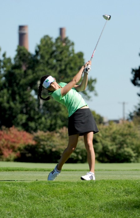 Irish junior Ashley Armstrong drives during the Mary Fossum  Invitational on September 15, 2012. Armstrong finished third this weekend.