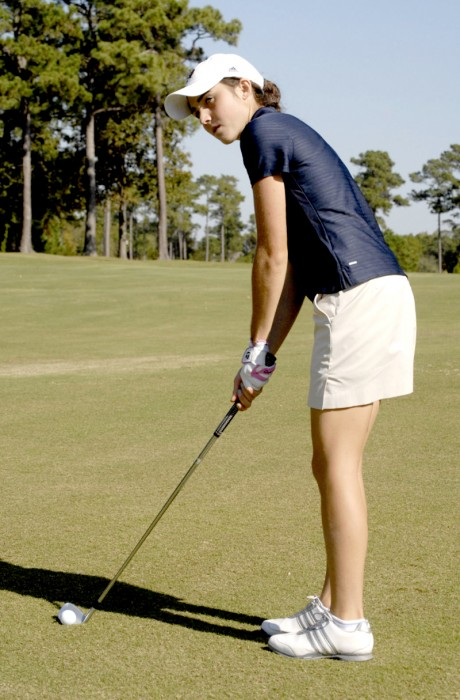 Irish junior Ashley Armstrong lines up a shot during the Briar's Creek Invitational in Charleston, S.C., on March 25, 2013