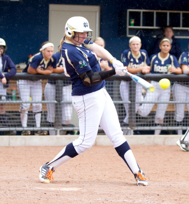 Irish infielder Laura Winter connects with a pitch against Illinois State during the fall season Sept. 15.