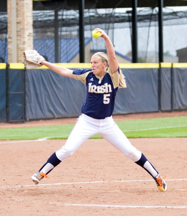 Irish sophomore pitcher Allie Rhodes delivers a pitch during an exhibition game against Illinois State on Sept. 15.