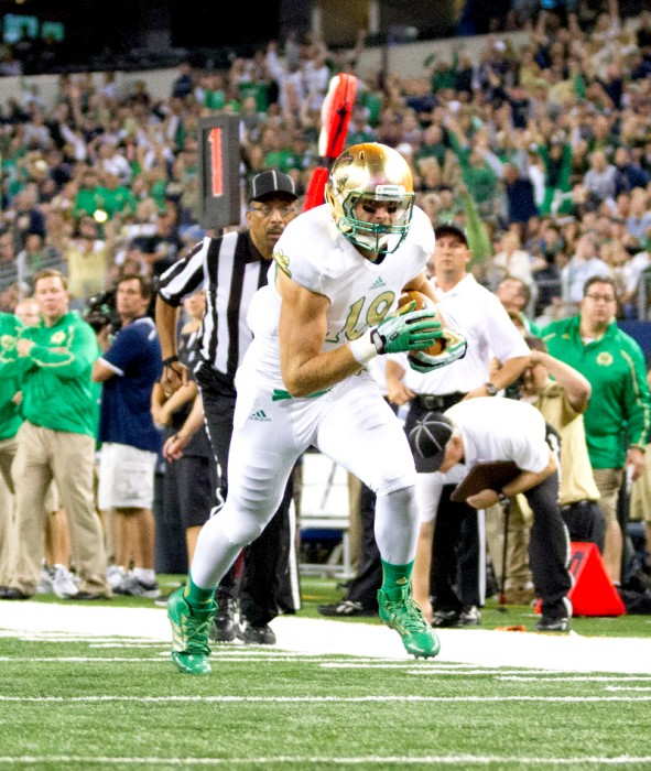 Irish senior tight end Ben Koyack runs toward the end zone during Notre Dame's 37-34 win over Arizona  State on Oct. 5, 2013. With the early departure of Troy Niklas for the NFL, Koyack will have the opportunity to seize the starting job in his final season.