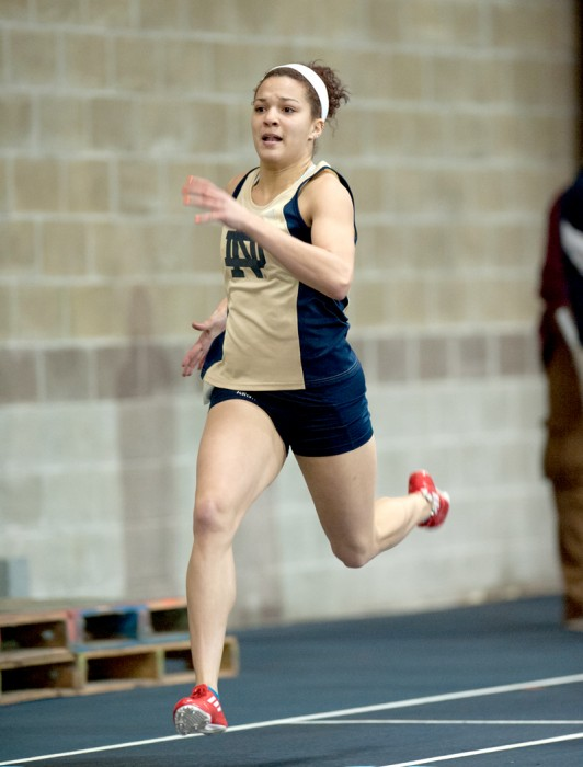 Irish junior sprinter Jade Barber strides towards the finish line during the Notre Dame Invitational on Jan. 25.
