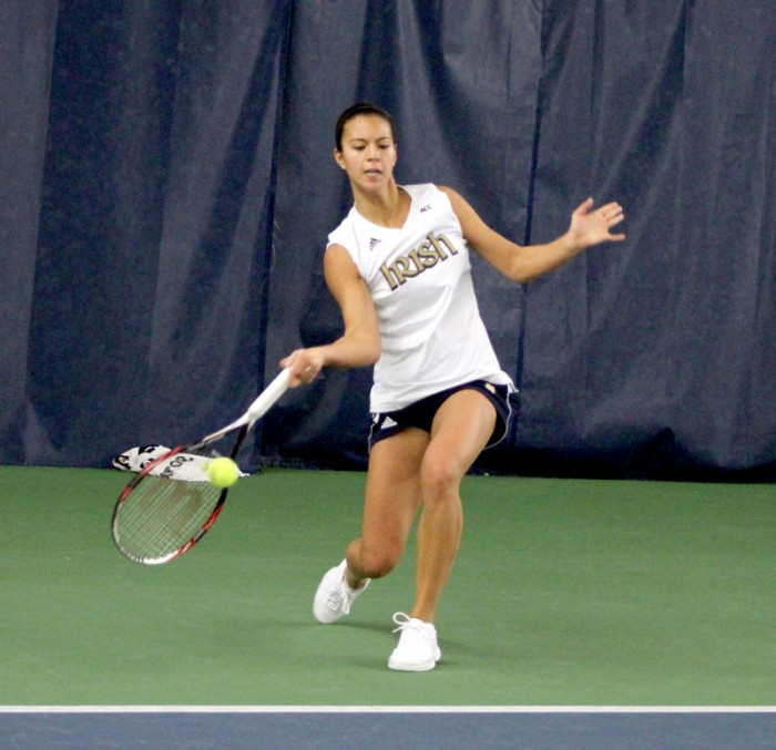 Irish senior Britney Sanders connects on a shot during Notre Dame's  4-3 win over Indiana on Feb. 2.