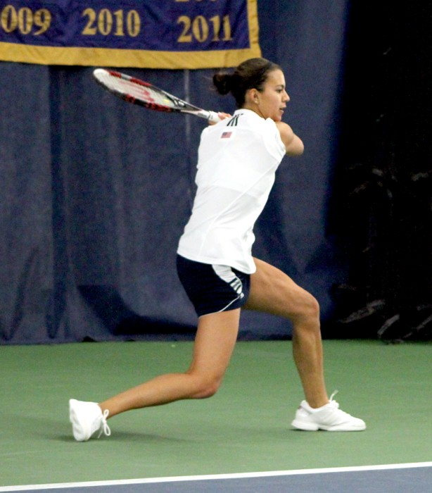 Irish senior Britney Sanders preapres for a backhand return during Notre Dame's 4-3 victory over Indiana on Feb. 2.
