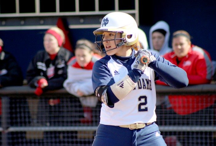 Irish junior catcher Cassidy Whidden prepares for the incoming pitch against Ball State during Notre Dame's 11-4 win on April 1. On Monday, the junior finished with two hits in three at bats.