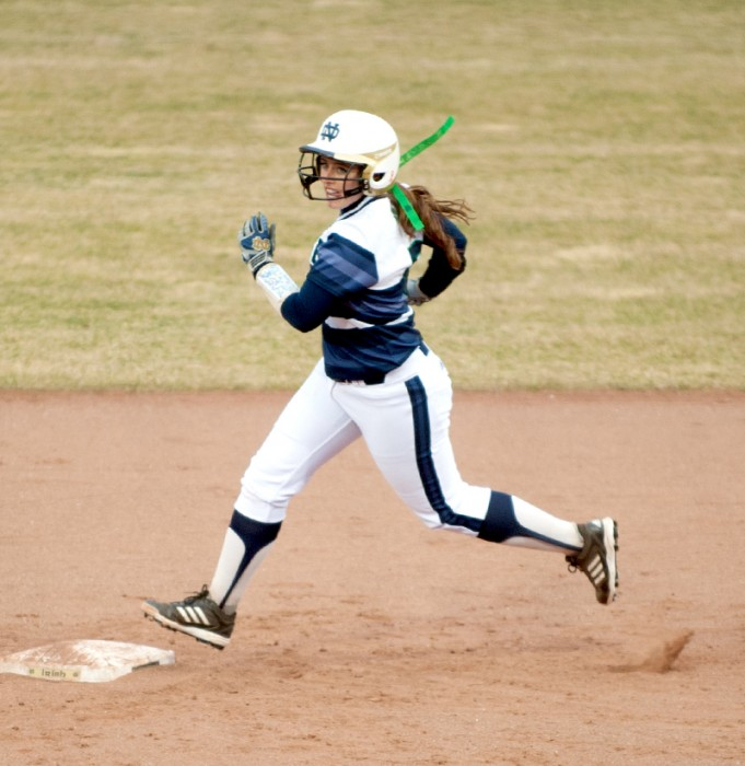 Sophomore first baseman Micaela Arizmendi  rounds second base last night against Michigan State. Arizmendi had two hits, including a homerun, and three RBIs in the Irish victory.