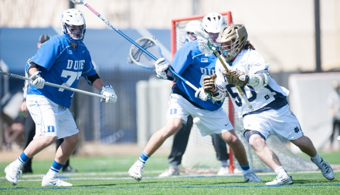 Sophomore attackman Matt Kavanagh cuts towards the goal in Notre Dame's 15-7 loss to Duke on April 5 at Arlotta Stadium.